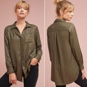 Anthropologie Maeve Sequined Button Down Shirt M